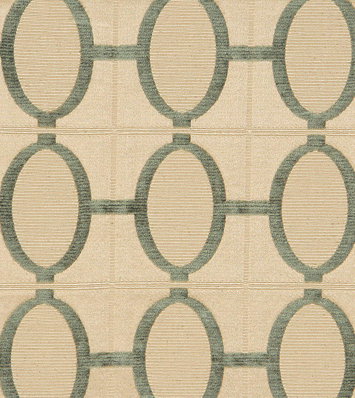 Moss Green and Cream Colored Modern Geometric Jacquard Woven Upholstery Fabric