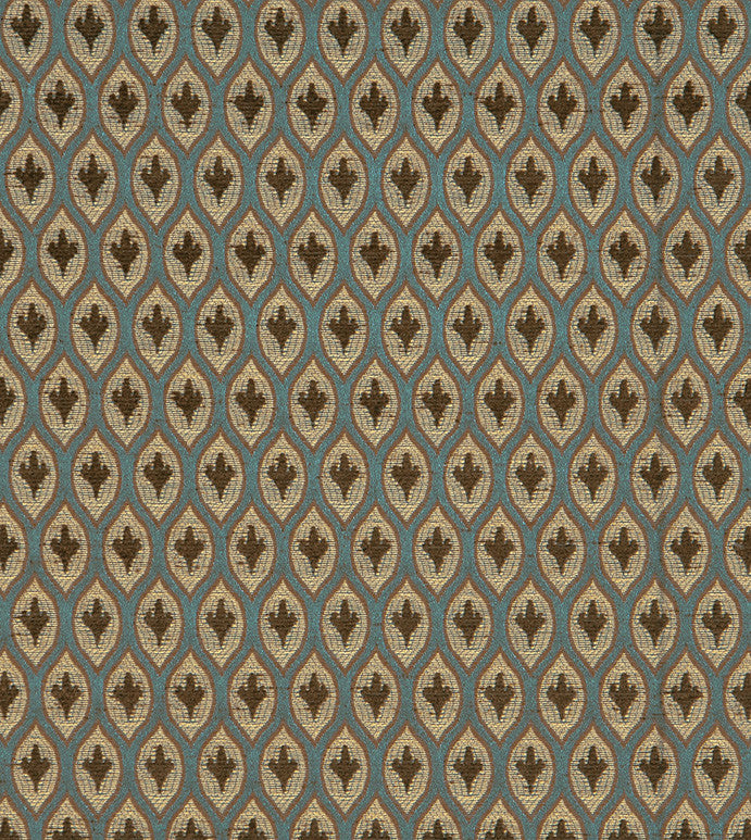 Blue and Brown Jacquard Weave Upholstery Fabric