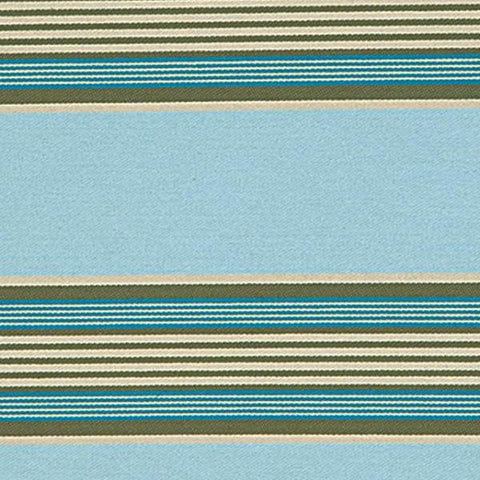Blue Cotton Twill Striped Upholstery Fabric