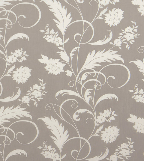 Grey Floral Cotton Upholstery Fabric