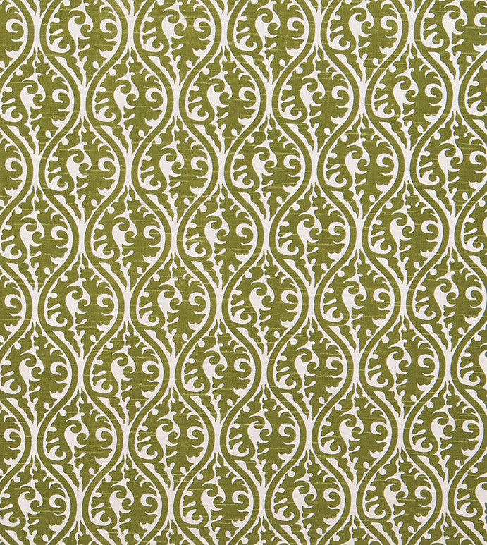 Green Damask Print on White Broadcloth Fabric