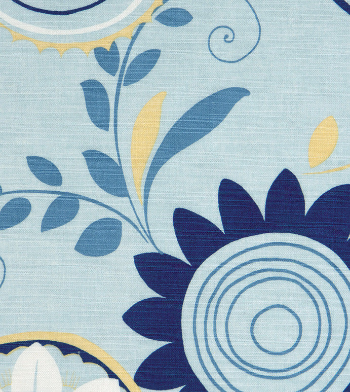 Blue Floral Upholstery Fabric