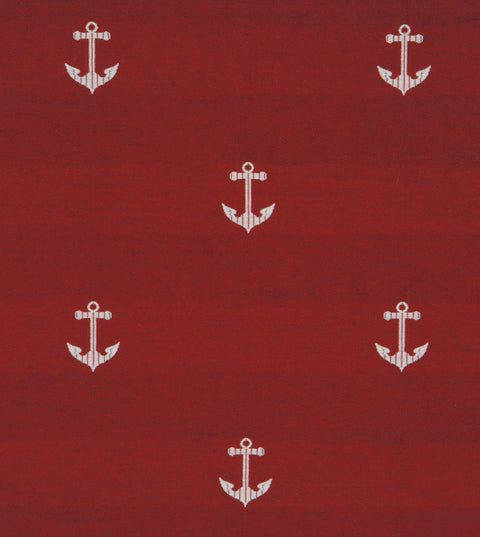 Red Nautical Embroidered Anchors Fabric
