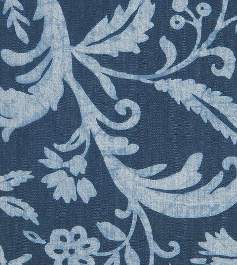 Denim Blue Batik Floral Print Fabric