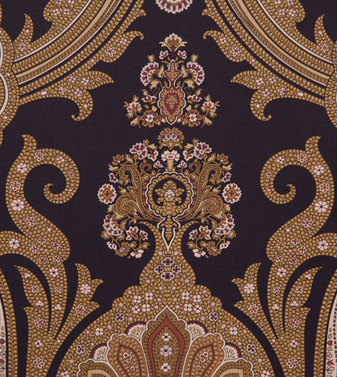 Large Paisley With Rich Gold Black Hues Upholstery Fabric