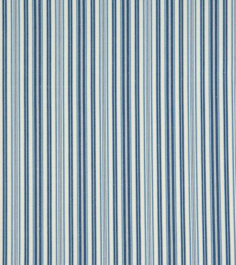 Blue Bar Code Striped Broadcloth Upholstery Fabric