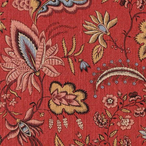 Red Floral Linen Fabric