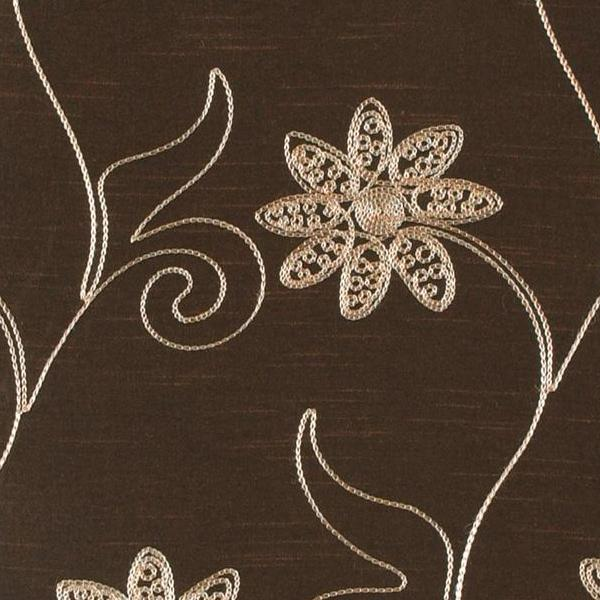 Brown Embroidered Floral Design Upholstery Fabric