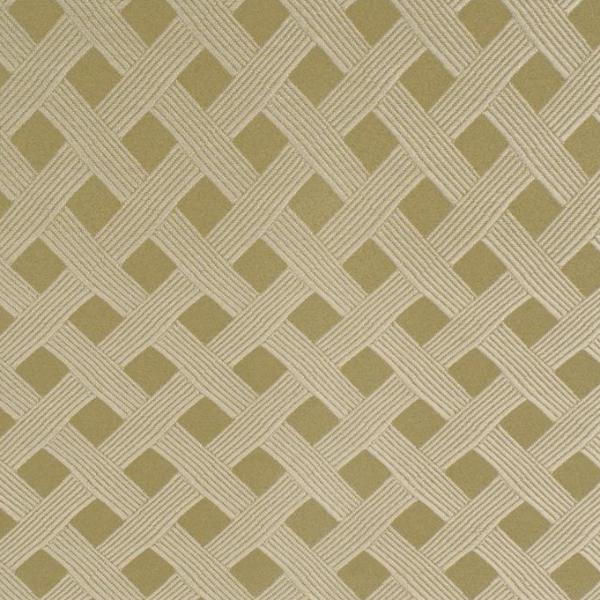 Olive Green Lattice Design Upholstery Fabric
