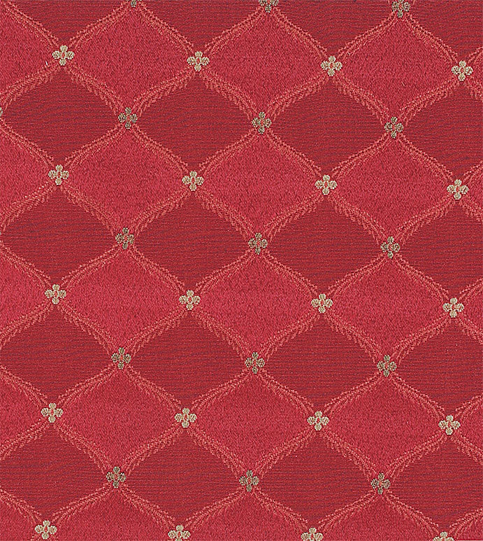 Red With Garnet Diamond Jacquard Upholstery Fabric
