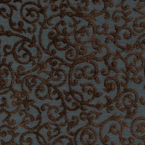 Navy Brown Embroidered Floral Upholstery Fabric