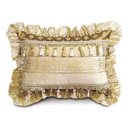 Ribbon Insert with Organza Lace Decorative Pillow 13x18