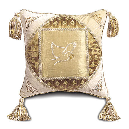"Embroidered Peace Dove with Tassels Decorative Pillow 20""x20"""
