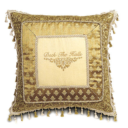 "Gold ""Deck the Halls"" Border Collage Decorative Pillow 24""x24"""