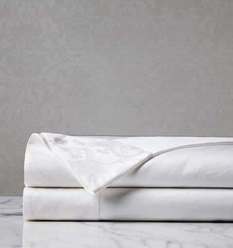 Georgette White Jacquard Flat Sheet