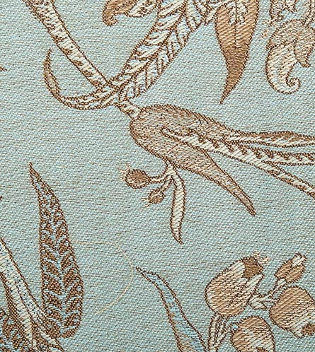 Antique French Light Blue Floral Upholstery Fabric
