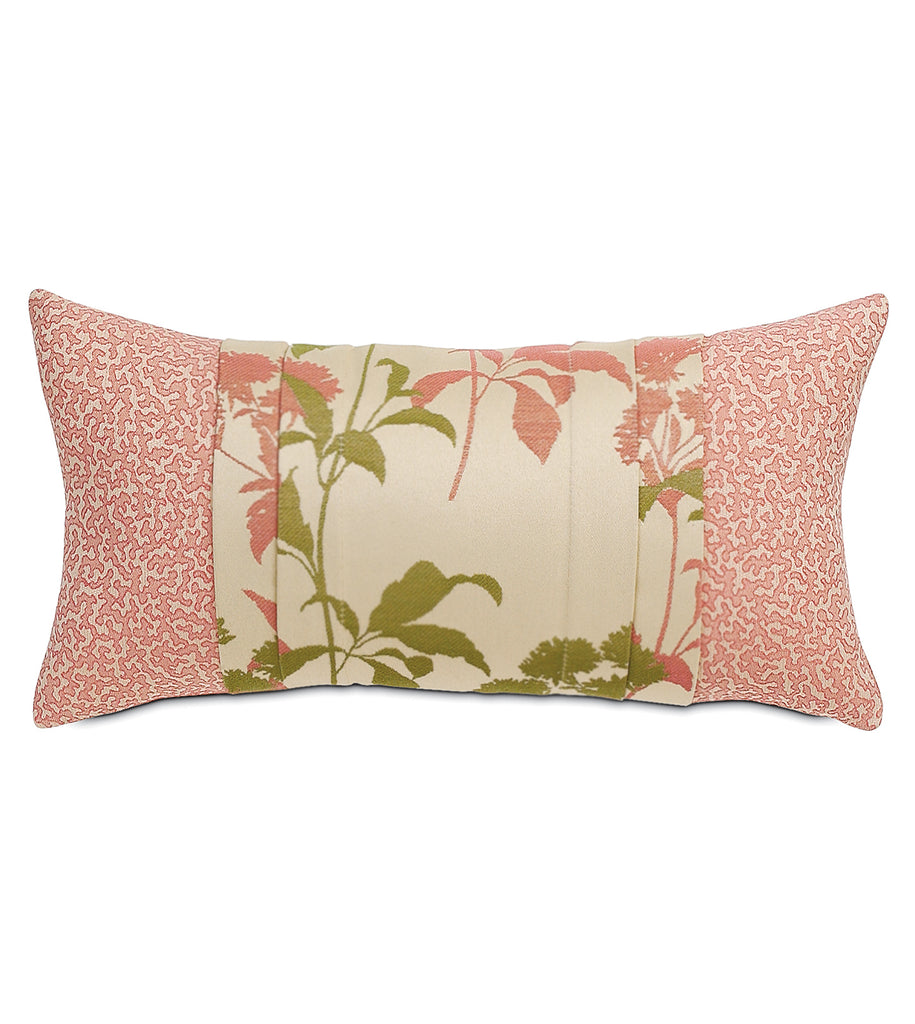 "Gemma Coral Floral Outdoor Luxury Lumbar Pillow Cover 12"" x 20"""