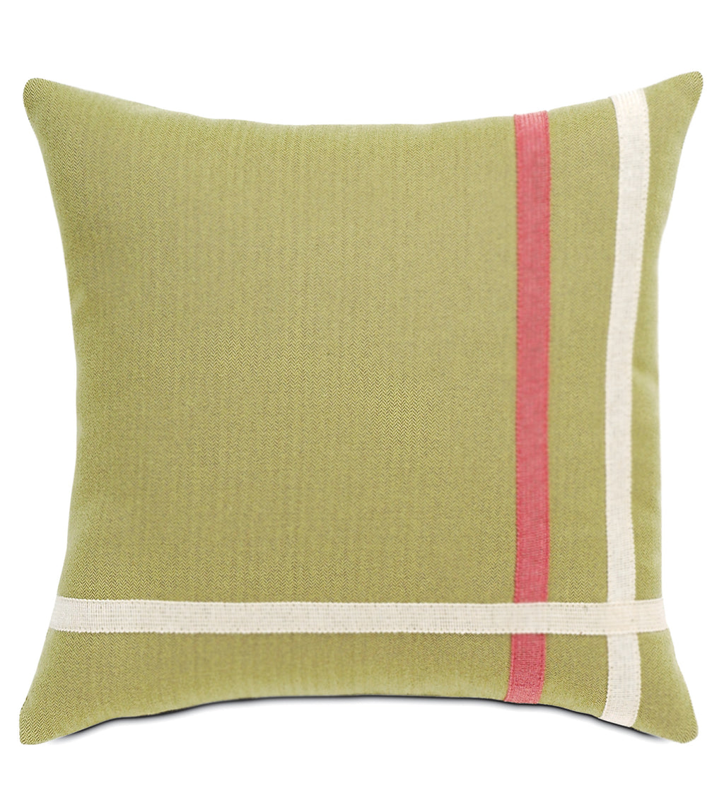 "16""x16"" Gemma Spring Green with Ribbon Indoor Outdoor Luxury Pillow Cover"