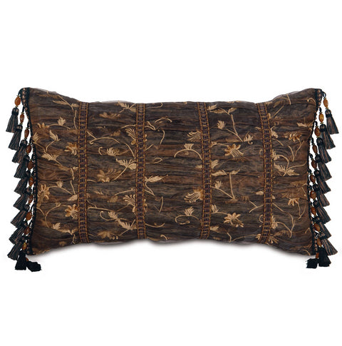 "15"" x 26"" Bronze Sheer Ruched Decorative Pillow Cover"