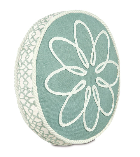 "Marny Mint Tambourine Decorative Pillow Cover 14""D x 2"""