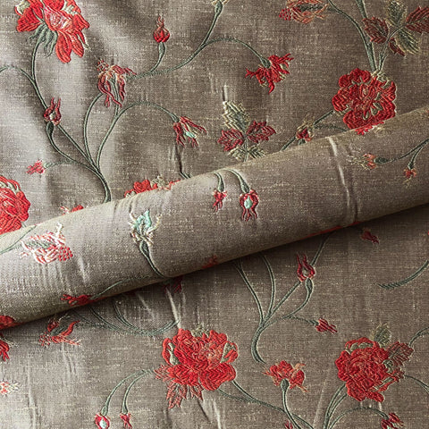 Taupe Country Floral Embroidered Upholstery Fabric 54""