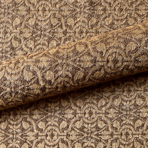 Golden Brown Abstract Textured Upholstery Fabric 54""