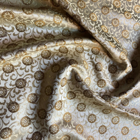 Champagne Floral Medallion Jacquard Upholstery Fabric 54""
