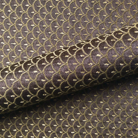 Brown Art Deco Scalloped Upholstery Fabric 54""