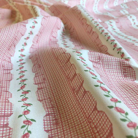 Blush Pink Farmhouse Floral Cotton Upholstery Fabric 54""