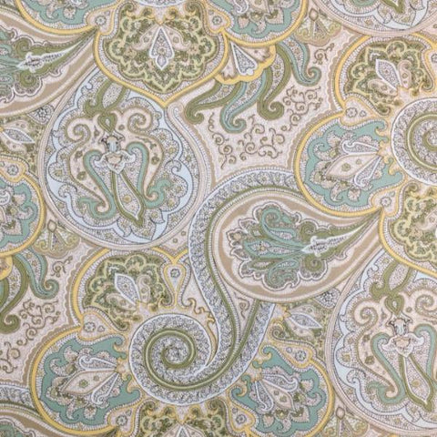 Green Paisley Cotton Twill Fabric