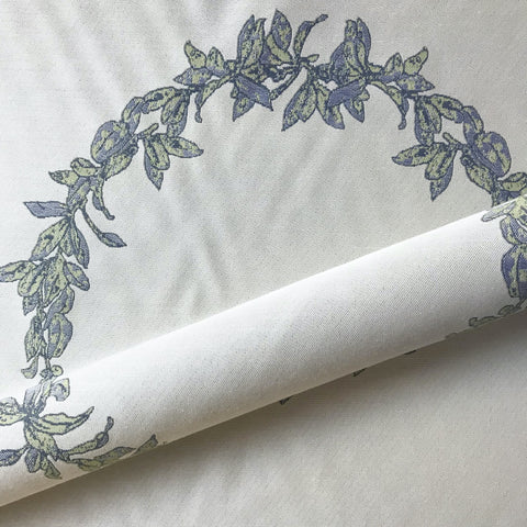 Ivory French Country Floral Wreath Jacquard Upholstery Fabric 54""