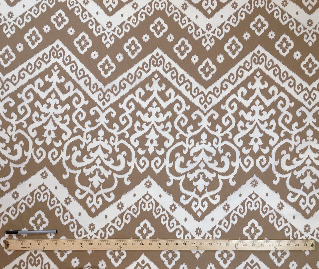 Taupe and Ivory Damask Upholstery Fabric