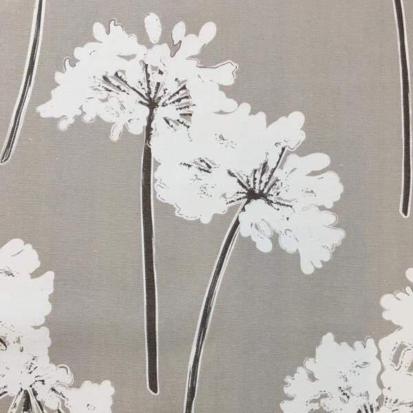 Taupe White Floral Print Fabric