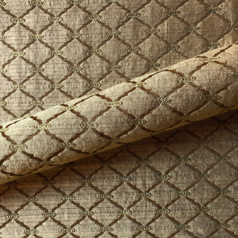 Golden Brown Southwestern Trellis Jacquard Upholstery Fabric 54""