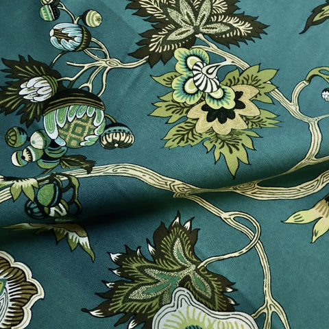 McQueen Teal Modern Floral Canvas Upholstery Fabric 54""