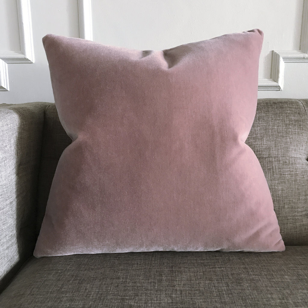 Blush Pink Luxury Mohair Euro Sham Cover Minstrel Rose Plankroad Home Decor