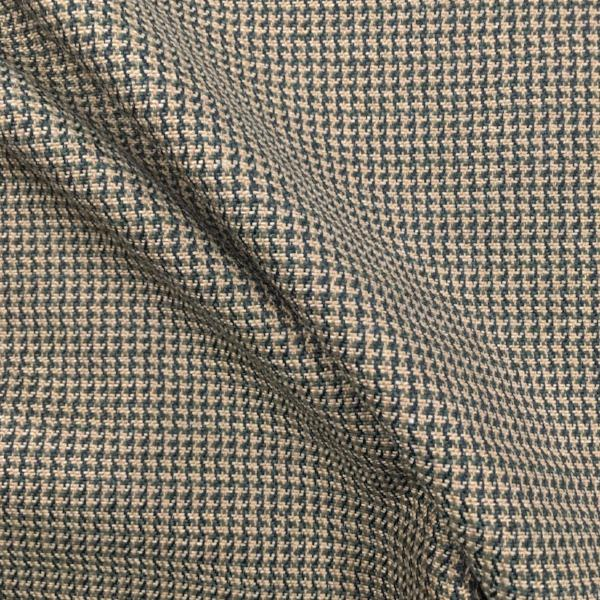 Beige Green Houndstooth Weave Upholstery Fabric