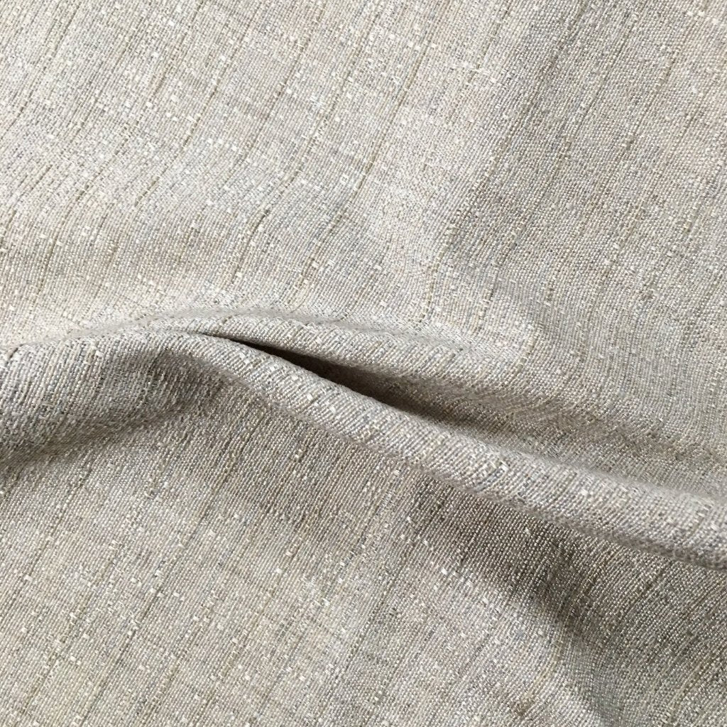 Silver Textured Linen Weave Fabric