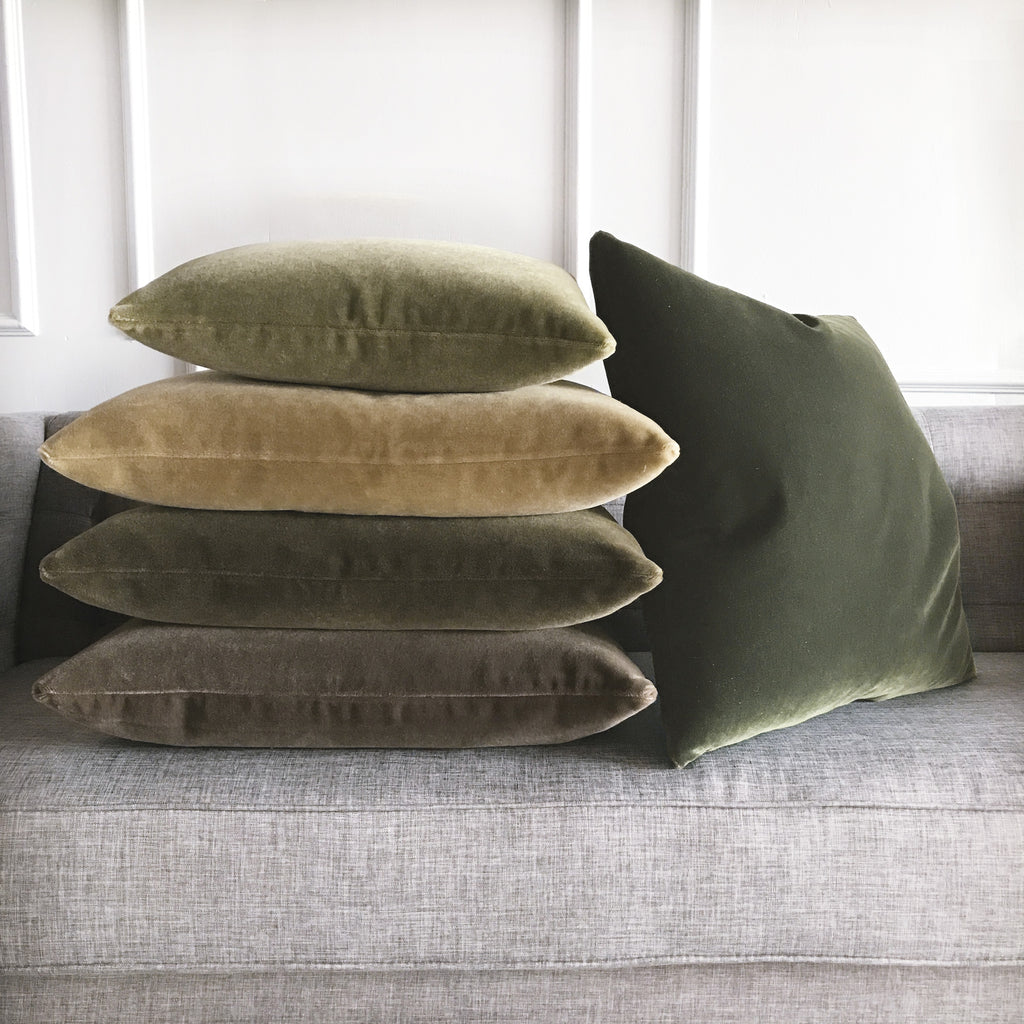 Forest Green Luxury Mohair Decorative Pillow Terraine Plankroad Home Decor