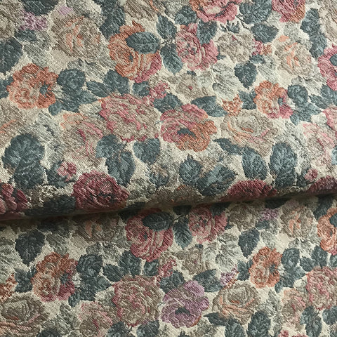 Vintage Rose Floral Embroidered Upholstery Fabric 54""