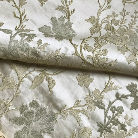 Champagne Luxe Floral Embroidered Upholstery Fabric 54""