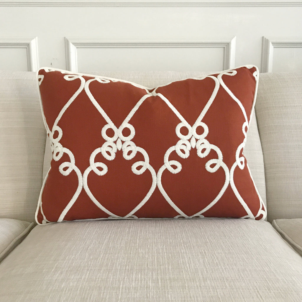 "Red Embroidered Linen Welt Trim Decorative Pillow Cover 16"" x 22"""