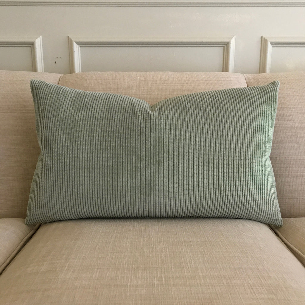 "Mint Channel Chenille Decorative Pillow Cover 15"" x 26"""