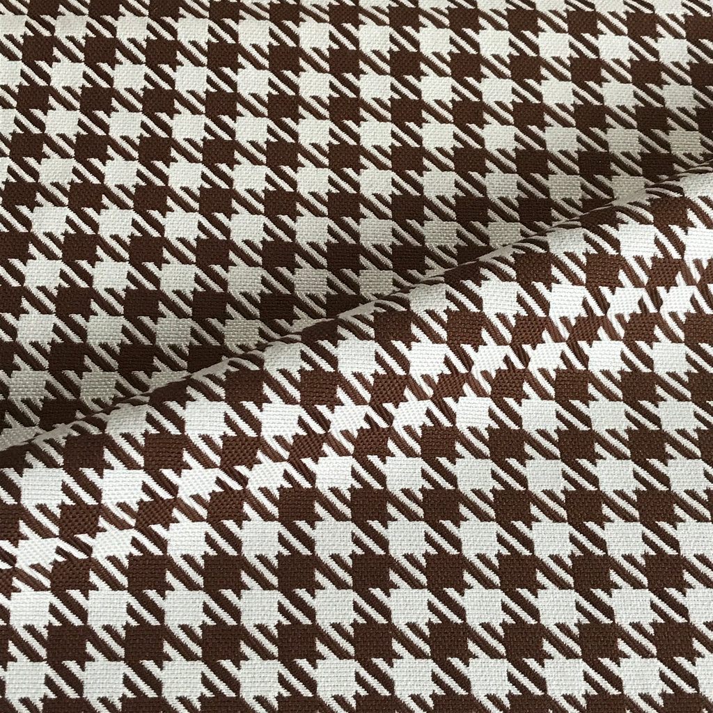 Brown Ivory Houndstooth Upholstery Fabric
