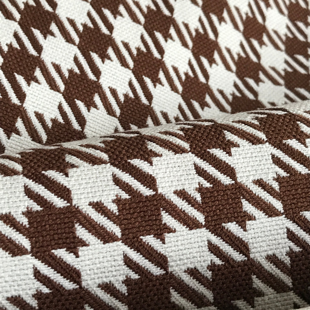 Chocolate Brown Houndstooth Check Woven Upholstery Fabric - 54""