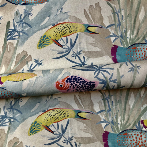 Tropical Fish Cotton Upholstery Fabric 54""