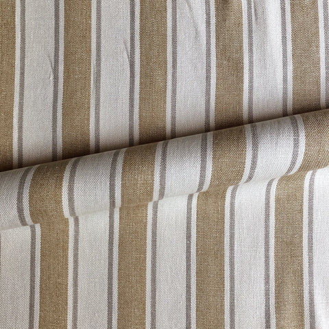 Tan Coastal Stripe Woven Upholstery Fabric 54""