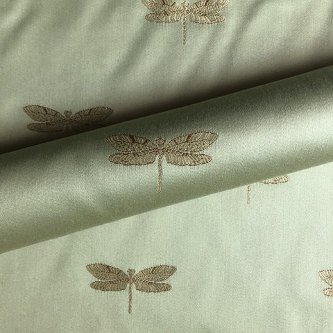 Sage Green Luxe Dragonfly Embroidered Silk Upholstery Fabric 54""