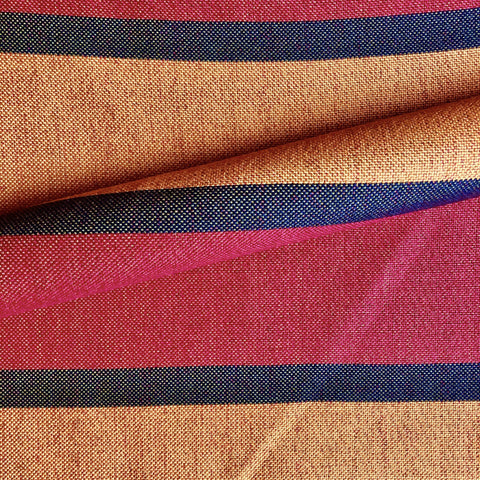 Berry Butterscotch Retro Stripe Cotton Upholstery Fabric 54""