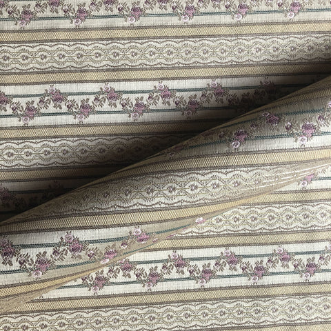 Country Chic Floral Stripe Embroidered Upholstery Fabric 54""